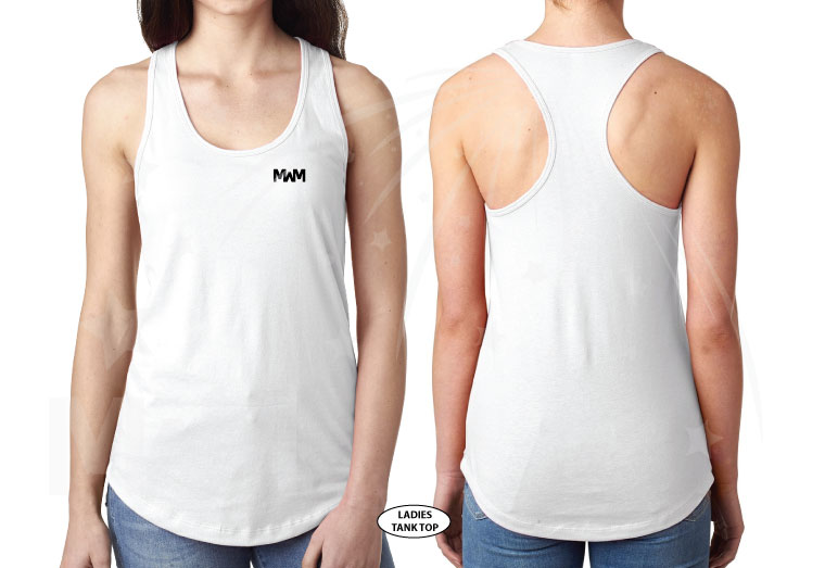 married with mickey white laides cut tank top racerback next level n1533