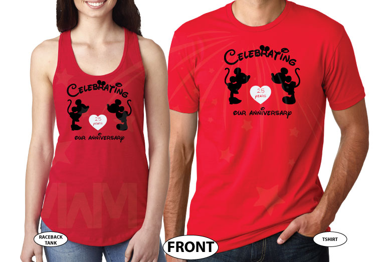Mr and Mrs Matching Shirts, Celebrating Our Anniversary (enter your year), Mickey Minnie Mouse Kissing, Married With Mickey red tee and tank
