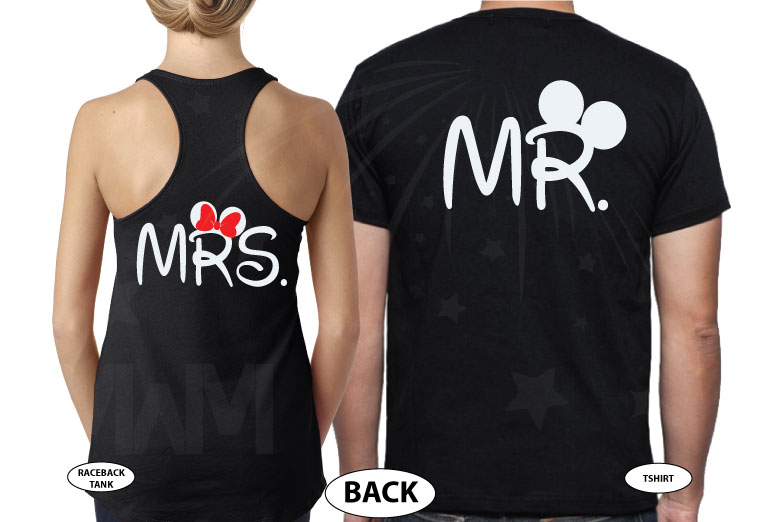 Mr and Mrs Matching Shirts, Celebrating Our Anniversary (enter your year), Mickey Minnie Mouse Kissing, Married With Mickey black tee and tank