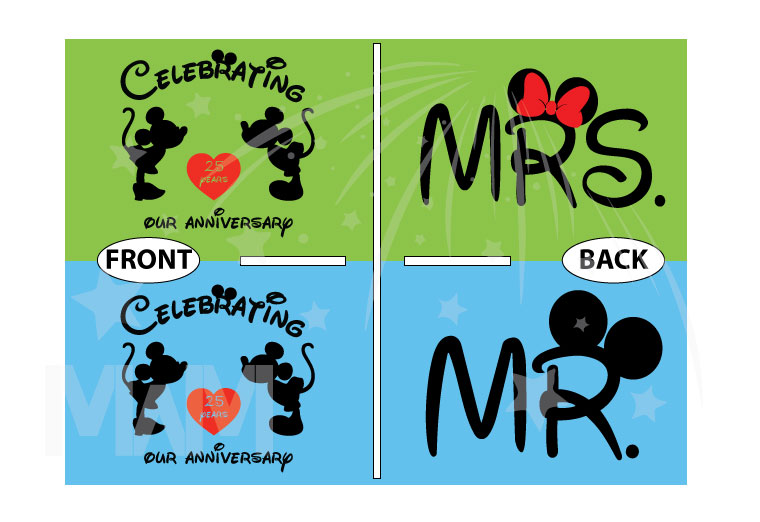 Mr and Mrs Matching Shirts, Celebrating Our Anniversary (enter your year), Mickey Minnie Mouse Kissing, Married With Mickey