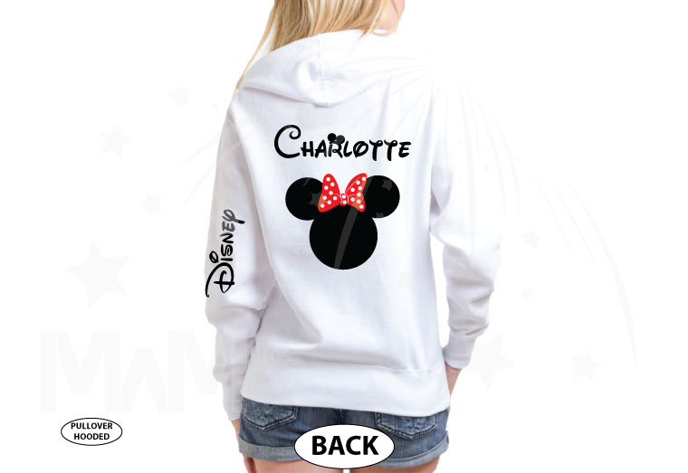 Disney Minnie Mouse Red Polka Dots With Custom Name, Cute Bow Shirt married with mickey white hoodie