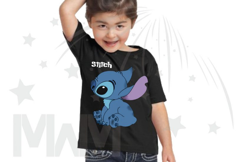 Stitch Ohana Means Family (500424) married with mickey black tshirt