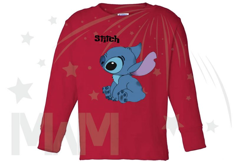 Stitch Ohana Means Family (500424) married with mickey red long sleeve