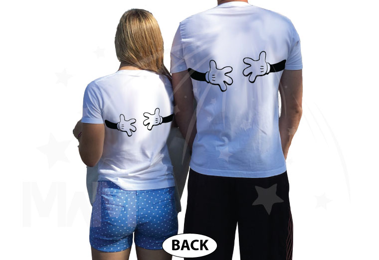 Mickey Minnie Mouse Cute Little Kiss Hugging Mickey's Hands, married with mickey, white shirts