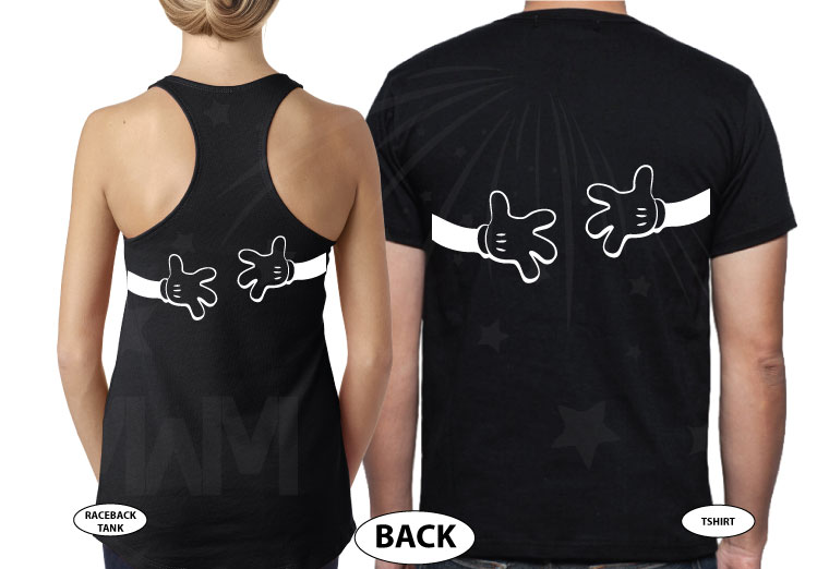Mickey Minnie Mouse Cute Little Kiss Hugging Mickey's Hands, married with mickey, black shirts