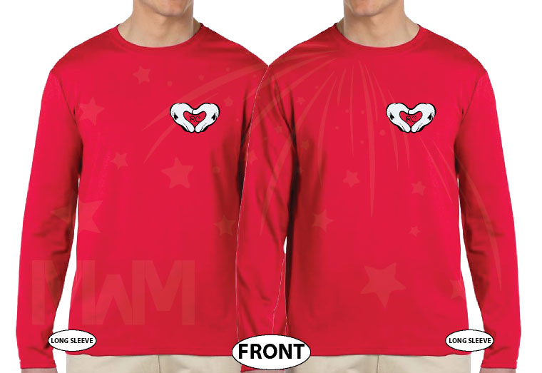 LGBT Gay Matching Couple Shirts Mickey Head I'm His He's Mine Mickey Mouse Hands In Heart Shape With Innitials married with mickey red long sleeves