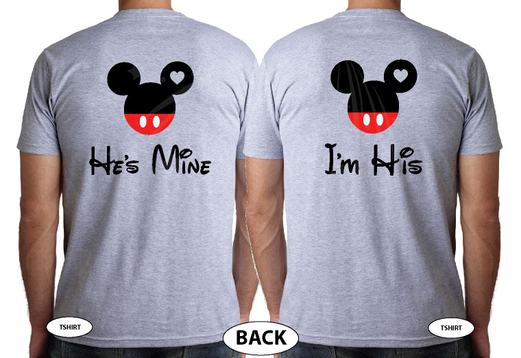 LGBT Gay Matching Couple Shirts Mickey Head I'm His He's Mine Mickey Mouse Hands In Heart Shape With Innitials married with mickey grey tshirts