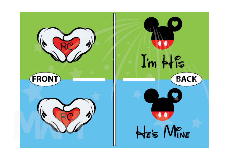 LGBT Gay Matching Couple Shirts Mickey Head I'm His He's Mine Mickey Mouse Hands In Heart Shape With Innitials married with mickey