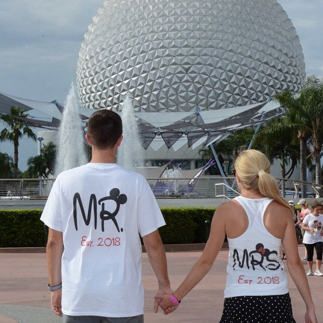 Mr Mrs Est 2017 Matching Couple Shirts Disney Font, This Is Happily Ever After, Married With Mickey white tshirt and tank top