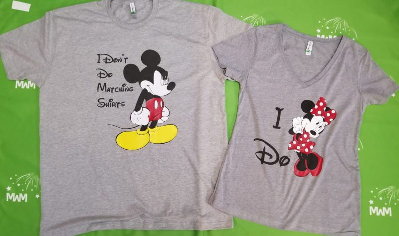 I Don't Do Matching Shirts Angry Mickey Mouse, I do Minnie Mouse, married with mickey, grey mix and match shirts, ladies v neck and mens t-shirt
