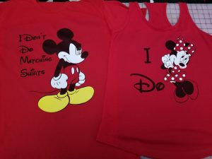 I Don't Do Matching Shirts Angry Mickey Mouse, I do Minnie Mouse, married with mickey, grey mix and match shirts, red ladies tank top and mens t-shirt