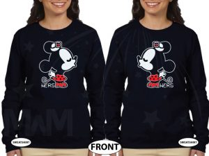 LGBT Lesbian Matching Shirts, Kissing Minnies, Minnie Mouse Kiss married with mickey black sweaters