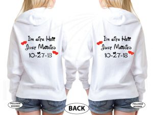 LGBT Lesbian I'm With Her Just Married With Wedding Date Cute Shirts married with mickey white hoodies