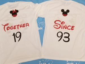 Disney Cute Matching Shirts Celebrating Our Anniversary Together Since (enter your year) Mickey Minnie Mouse Kissing, married with mickey