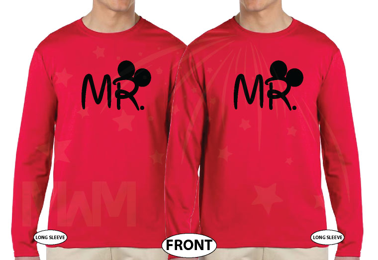 LGBT Gay Matching Shirts For Mr Mickey Mouse Hands In Heart Shape Wedding Date married with mickey red long sleeve