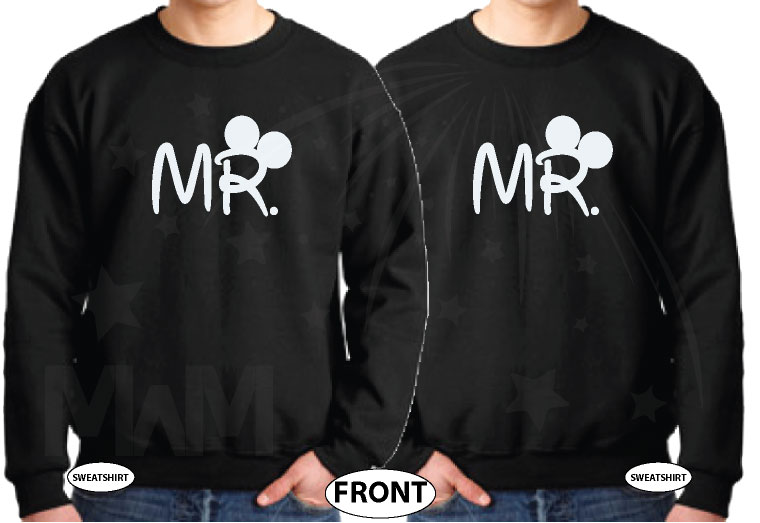 LGBT Gay Matching Shirts For Mr Mickey Mouse Hands In Heart Shape Wedding Date married with mickey black sweater