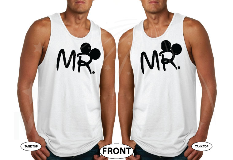 LGBT Gay Matching Shirts For Mr Mickey Mouse Hands In Heart Shape Wedding Date married with mickey white tshirts