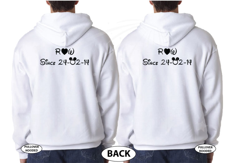 LGBT Gay Matching Shirts I'm His He's Mine With Initials Custom Wedding Date married with mickey white hoodies