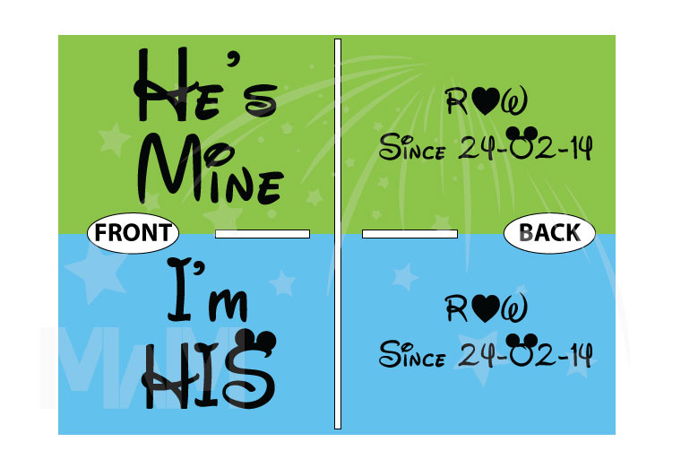 LGBT Gay Matching Shirts I'm His He's Mine With Initials Custom Wedding Date married with mickey
