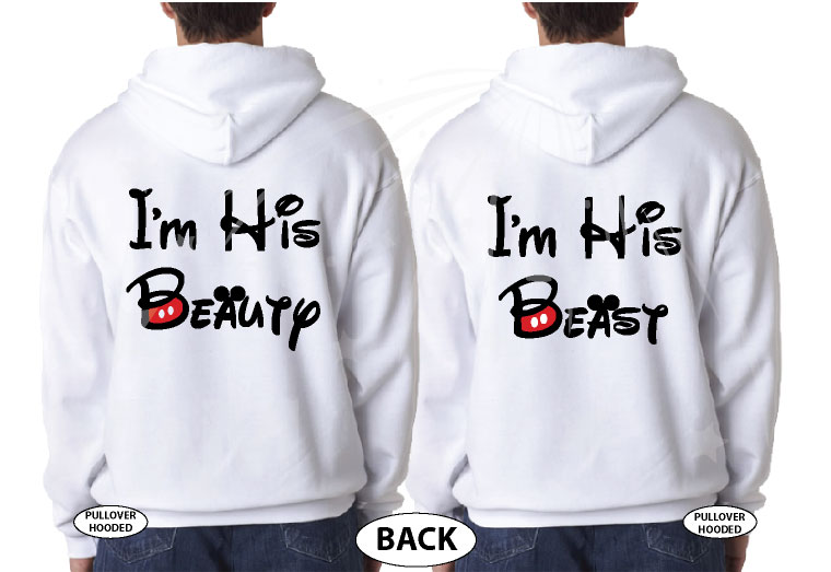 LGBT Gay I'm His Beauty I'm His Beast Matching Shirts married with mickey white hoodies