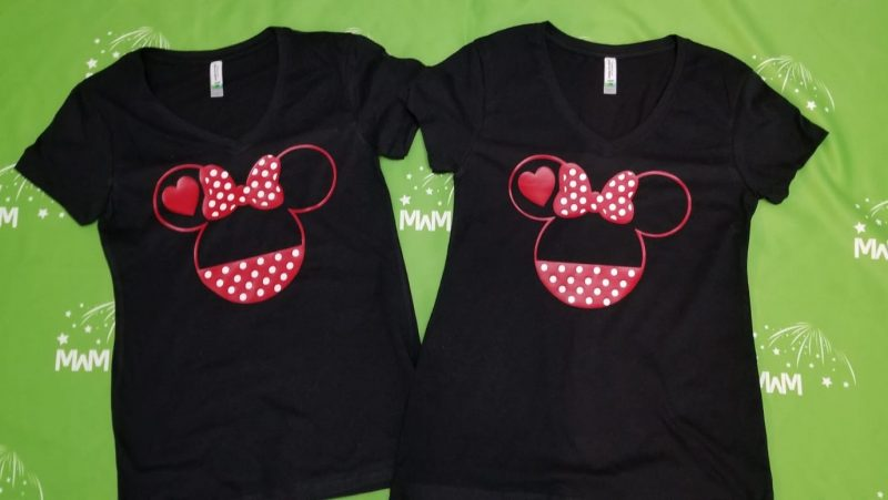 LGBT Lesbian Minnie Mouse Heads She's Mine I'm Hers Pointing Hands ladies black v necks