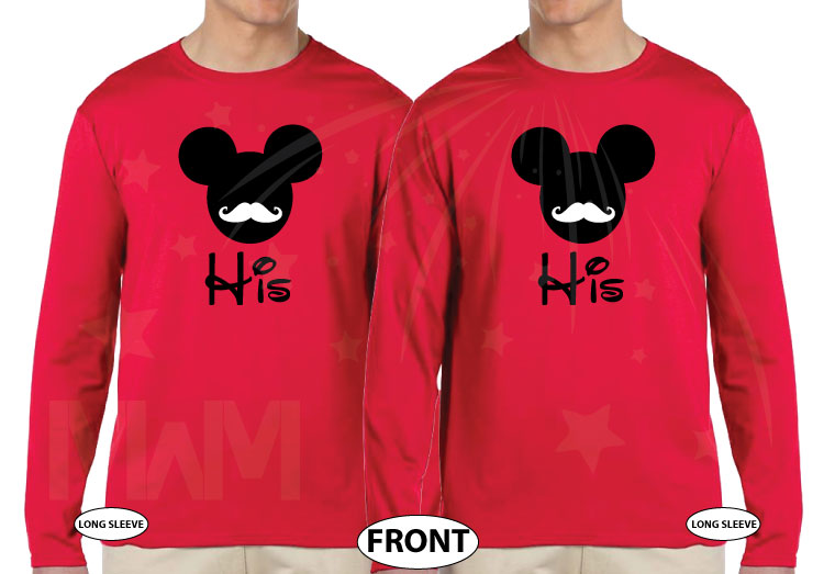 LGBT Gay Matching Shirts His Mickey Mouse Mustaches married with mickey red long sleeves