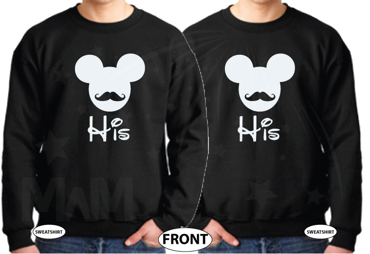 LGBT Gay Matching Shirts His Mickey Mouse Mustaches married with mickey black sweaters