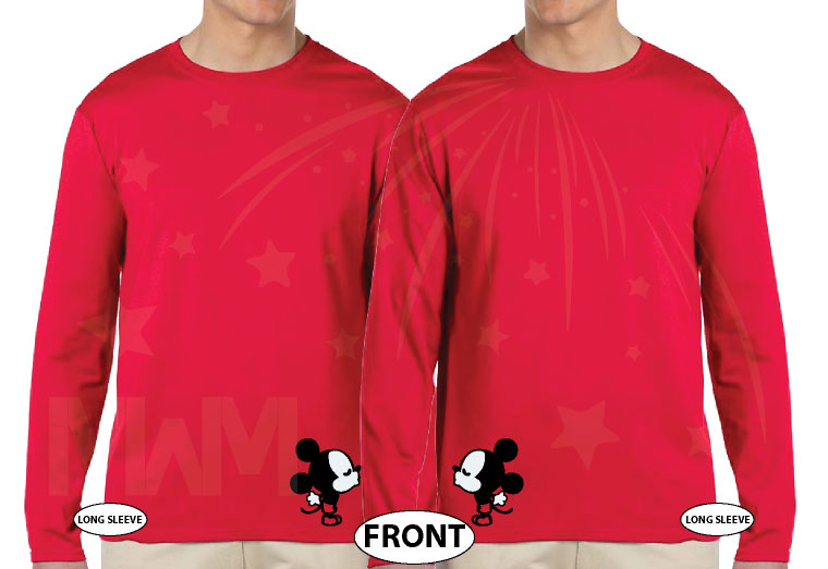 LGBT Gay His Matching Couple Shirts Mickey Mouse Cute Kissing married with mickey red long sleeves