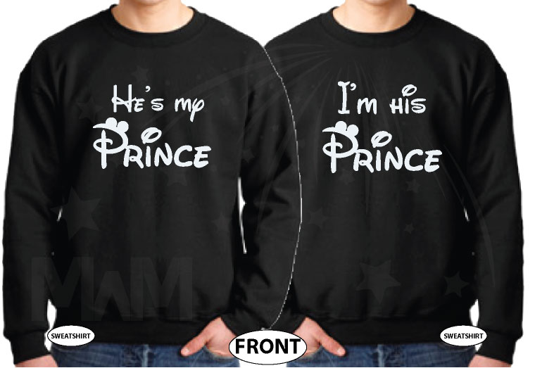 Customize these adorable LGBT Gay Matching Couple Shirts With Your Initials, I'm His Prince and He's My Prince, married with mickey, black unisex sweaters