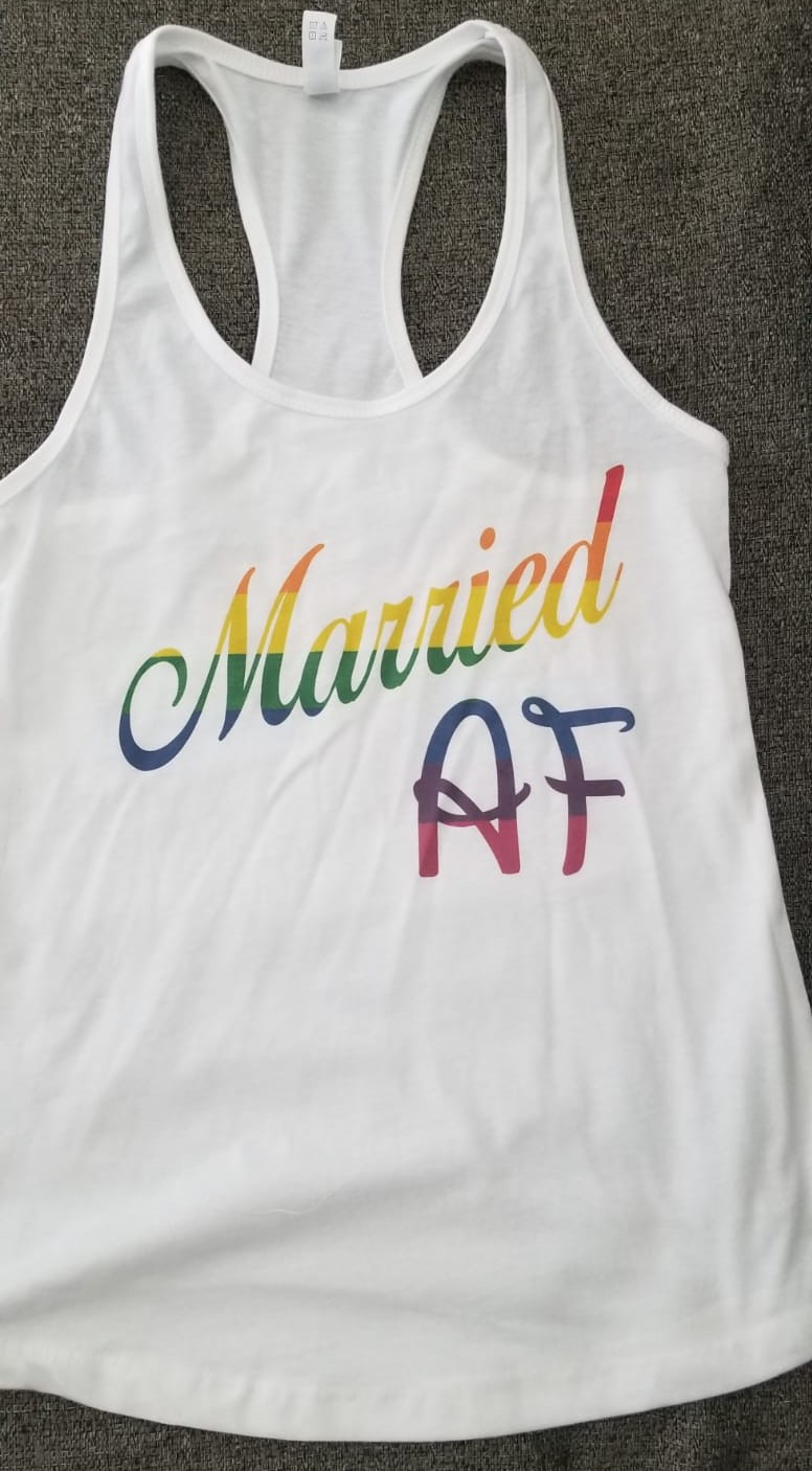 LGBT Lesbian or Gay Single Shirt, Ladies and Mens Cut, Married AF, Rainbow Colors married with mickey