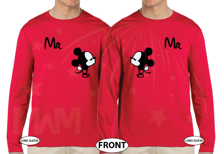 LGBT Gay Matching Couple Shirts For Mr With Very Cute Little Kissing Mickey Mouse married with mickey red long sleeves