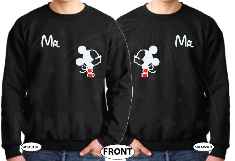 LGBT Gay Matching Couple Shirts For Mr With Very Cute Little Kissing Mickey Mouse married with mickey black sweaters