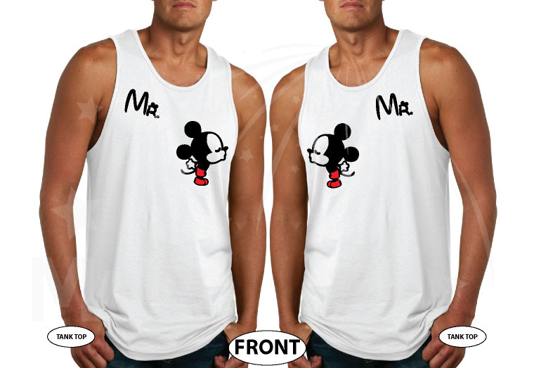 LGBT Gay Matching Couple Shirts For Mr With Very Cute Little Kissing Mickey Mouse married with mickey white tank tops