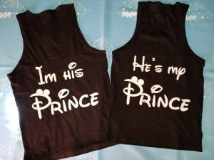 Disney LGBT Gay Couple Shirts, I'm His Prince and He's My Prince, Super Cute Matching Shirts, married with mickey, black mens tank tops