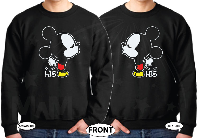 LGBT Gay Mickey Mouse His, Married With Mickey black sweaters