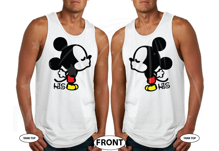 LGBT Gay Mickey Mouse His, Married With Mickey white tank tops