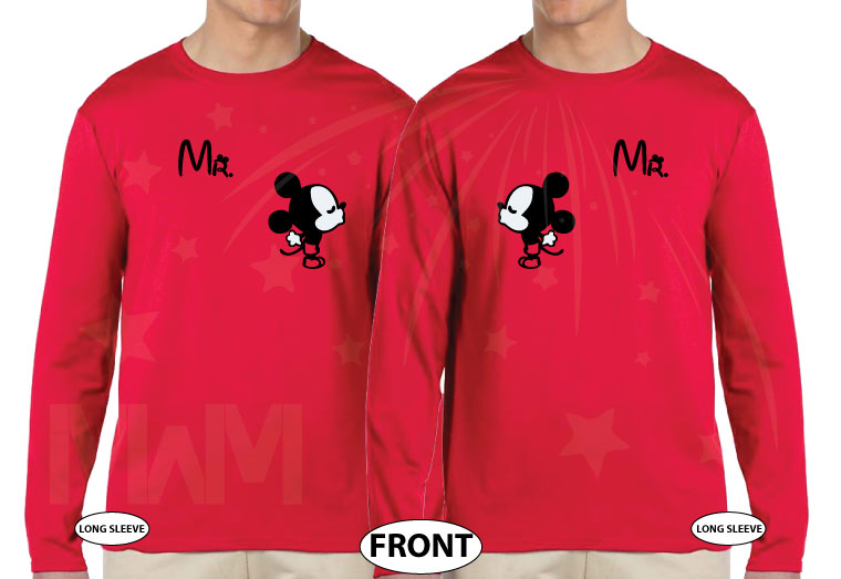 LGBT Gay Matching Mr Mickey Mouse Shirts I'm His Prince He's My Prince married with mickey red long sleeves