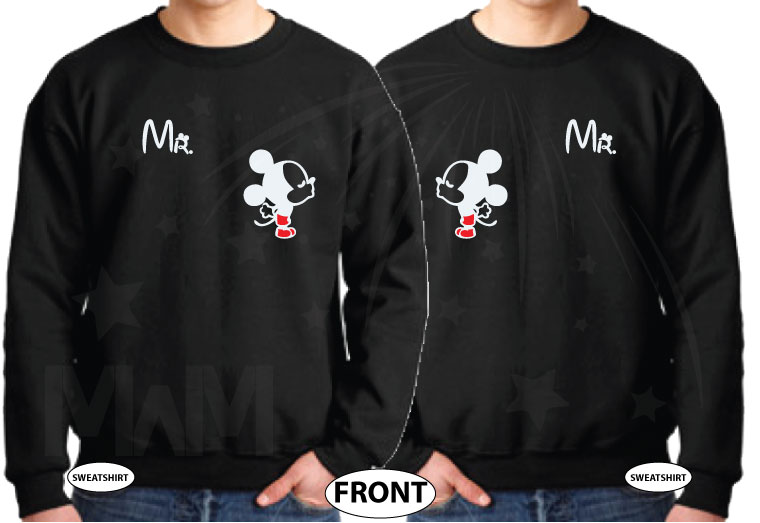 LGBT Gay Matching Mr Mickey Mouse Shirts I'm His Prince He's My Prince married with mickey black sweaters