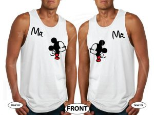 LGBT Gay Matching Mr Mickey Mouse Shirts I'm His Prince He's My Prince married with mickey white tank tops