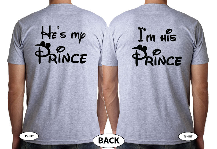 LGBT Gay Matching Mr Mickey Mouse Shirts I'm His Prince He's My Prince, married with mickey, grey mens t-shirts