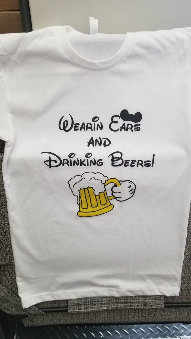 Wearing Ears and Drinking Beers! Mickey Mouse Hand and Beer Mickey Ears, married with mickey, white mens tshirt