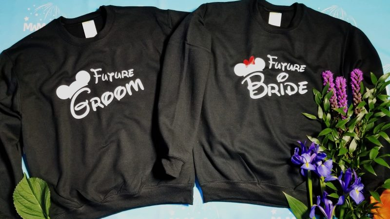 Future Bride and future Groom Cute Shirts Mickey Minnie Mouse Head and Red Polka Dots Bow, married with mickey, unisex black sweaters