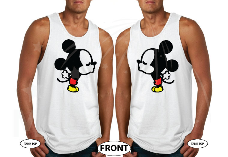 LGBT Gay Kissing Mickey Mouse, I'm His Goofy, I'm His Mickey married with mickey white tank tops