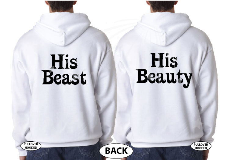 LGBT Gay His Beauty His Beast Matching Shirts married with mickey white hoodies