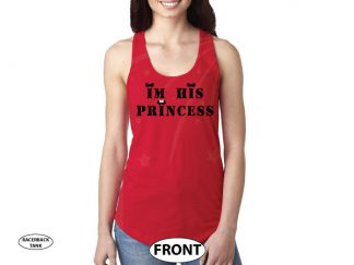 I'm His Princess Disney Shirt For Her, Military Army Design, Font married with mickey red tank top
