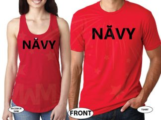 Army, Military, Navy, Guard, Coast Guard With Ears and Bows (pick your design) married with mickey navy red tee and tank