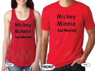 Mickey Minnie Just Married married with mickey red tee and tank