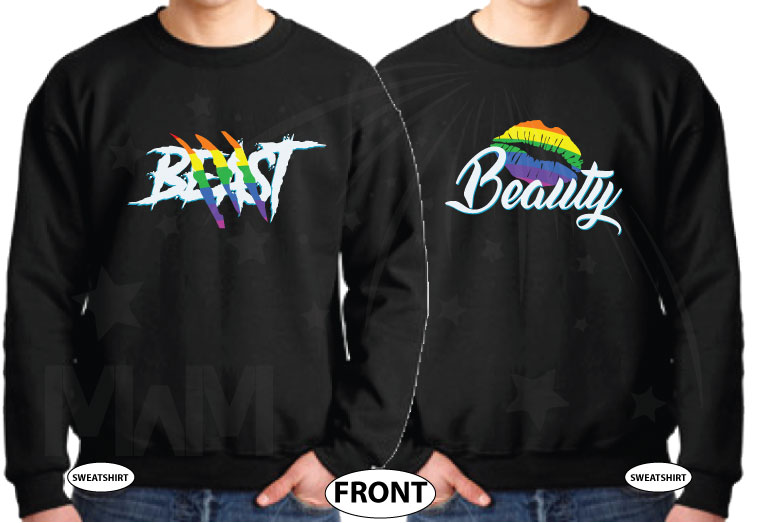 LGBT Gay Beast and Beauty Rainbow Colors I'm His He's Mine Mickey Mouse Hand married with mickey black sweaters