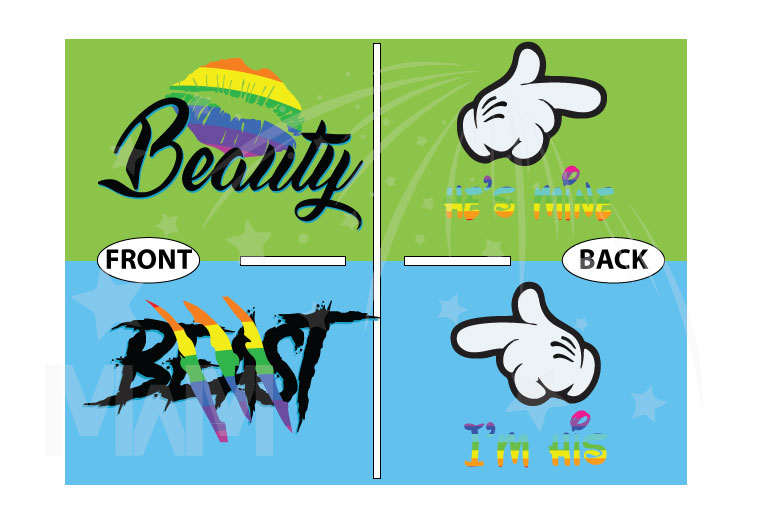 LGBT Gay Beast and Beauty Rainbow Colors I'm His He's Mine Mickey Mouse Hand married with mickey