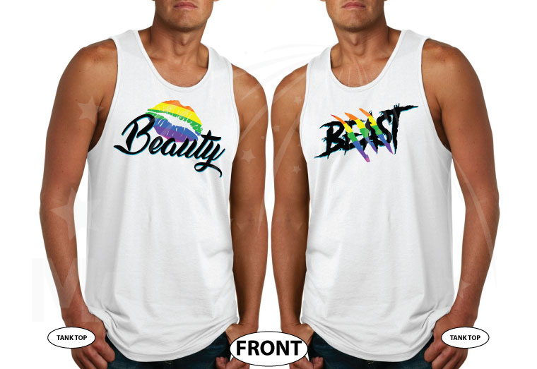 LGBT Gay Beast and Beauty Rainbow Colors I'm His He's Mine Mickey Mouse Hand married with mickey white tank tops